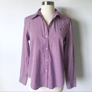 Lauren Ralph Lauren Logo Striped Button Down Shirt